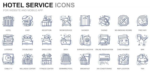 Conjunto simples de ícones de linha de serviços de hotel para o site e aplicativos móveis Vetor Premium
