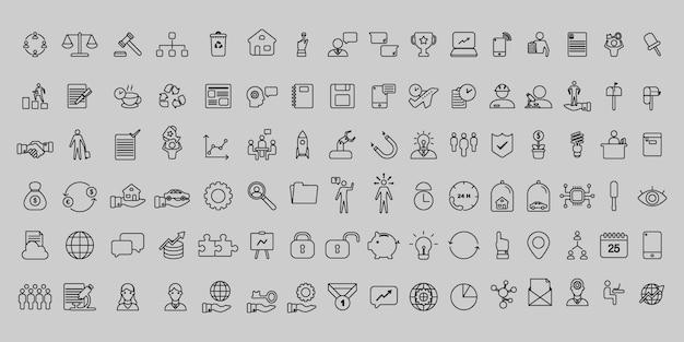Conjunto simples de ícones de negócios e escritório de linha fina de vetor Vetor Premium