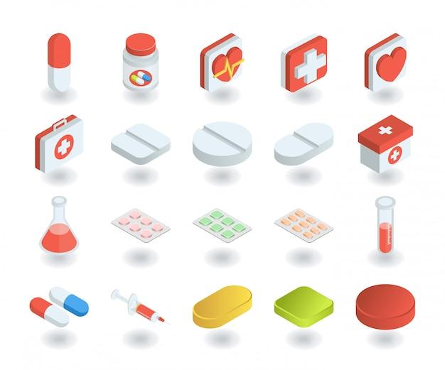 Conjunto simples de ícones de saúde e medicina em estilo 3d isométrico plano. contém ícones como pílula, tubo de ensaio, primeiros socorros, caixa de remédios e muito mais. Vetor Premium