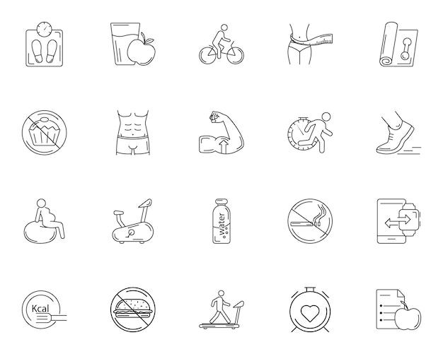 Conjunto simples de ícones do ginásio Vetor Premium