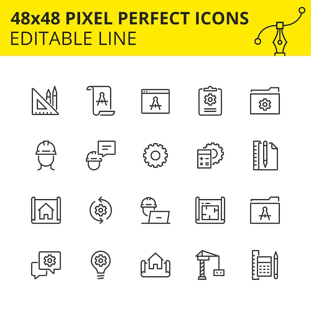 Conjunto simples de ícones para processos de engenharia, bem como design e análise, que inclui ícones para desenhos técnicos e desenhos construtivos. Vetor Premium