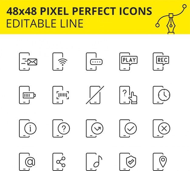 Conjunto simples de ícones relacionados aos serviços telefônicos. coleção de símbolos de estrutura de tópicos de tecnologia móvel. contém ícones como celular, suporte, carregamento, sms etc. pixel perfeito. linha. . Vetor Premium