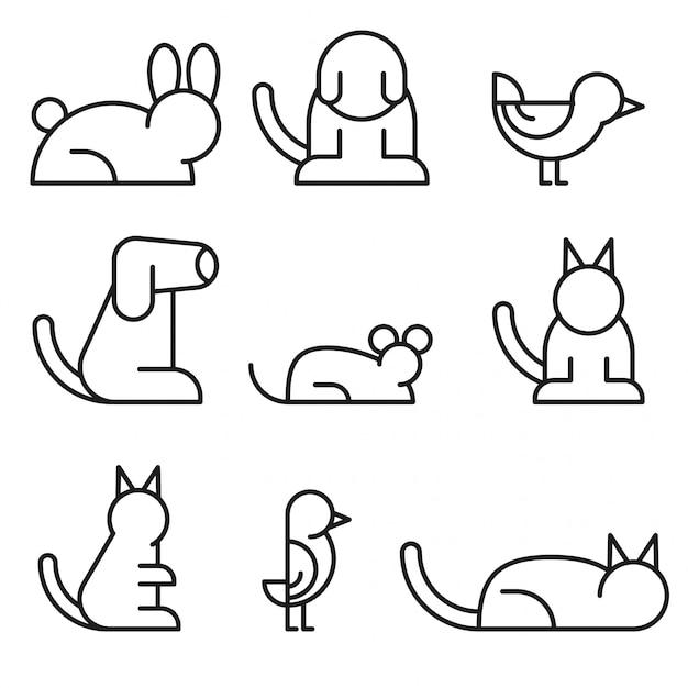 Conjunto simples de linha relacionada com animais de estimação Vetor Premium