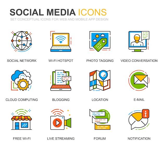 Conjunto simples de mídias sociais e ícones de linha de rede para o site Vetor Premium