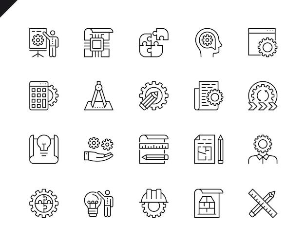 Conjunto simples de projeto de engenharia relacionados vetor linha de ícones. Vetor Premium