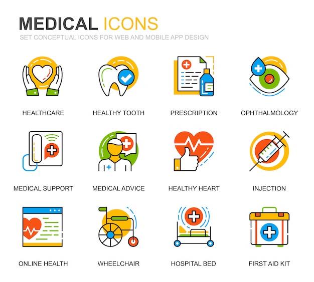 Conjunto simples de saúde e linha médica ícones para site Vetor Premium