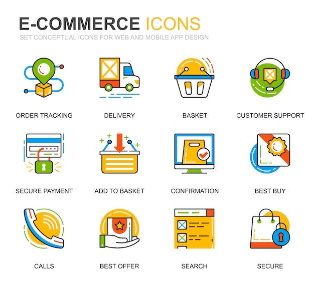 Conjunto simples e-commerce e ícones de linha de compras para o site Vetor Premium