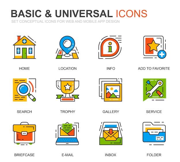 Conjunto simples ícones de linha básica para o site Vetor Premium