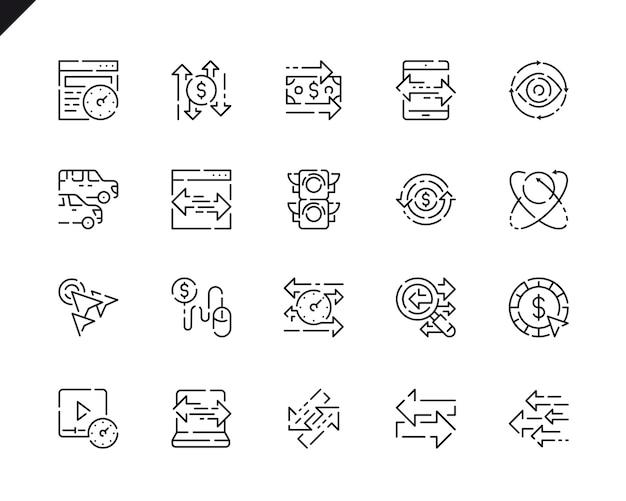 Conjunto simples ícones de linha de tráfego para o site e aplicativos móveis. Vetor Premium