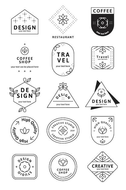 Conjunto simples logotipo Vetor grátis