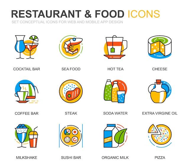 Conjunto simples restaurante e comida linha ícones para site Vetor Premium