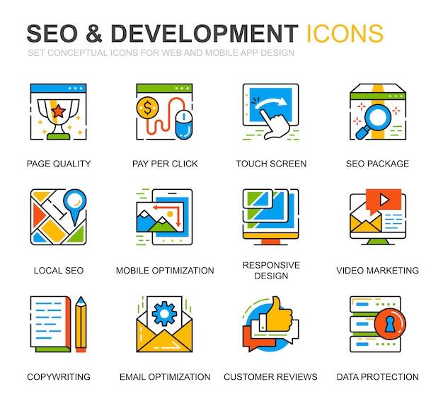Conjunto simples seo e ícones de linha de desenvolvimento para o site Vetor Premium