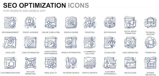 Conjunto simples seo e web ícones de linha de otimização para o site e aplicativos móveis Vetor Premium