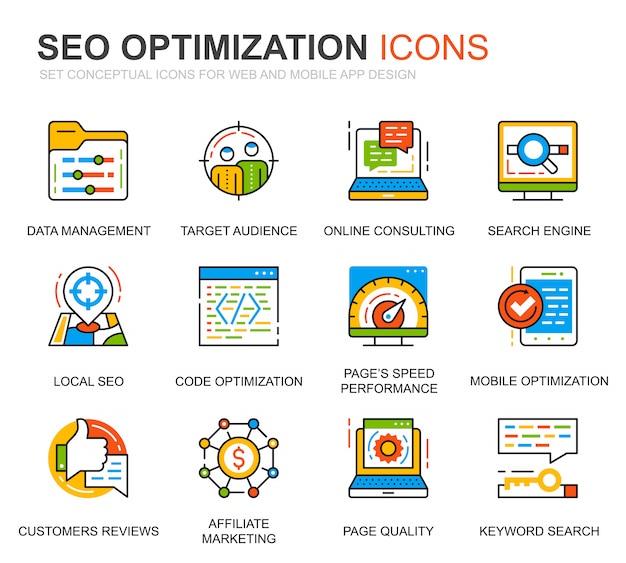 Conjunto simples seo e web ícones de linha de otimização para o site Vetor Premium