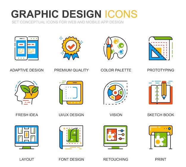 Conjunto simples web e ícones de linha de design gráfico para o site Vetor Premium