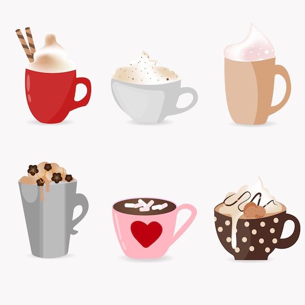 Conjunto super fofo de xícaras de café, com diferentes tipos de bebidas Vetor Premium