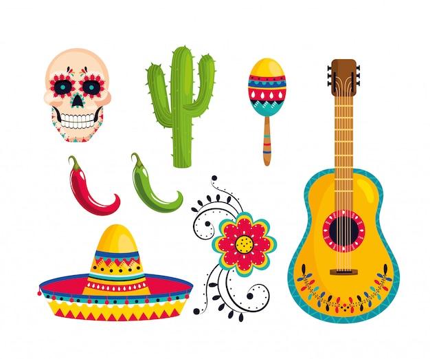 Conjunto tradicional decoração mexicana para celebração do evento Vetor Premium