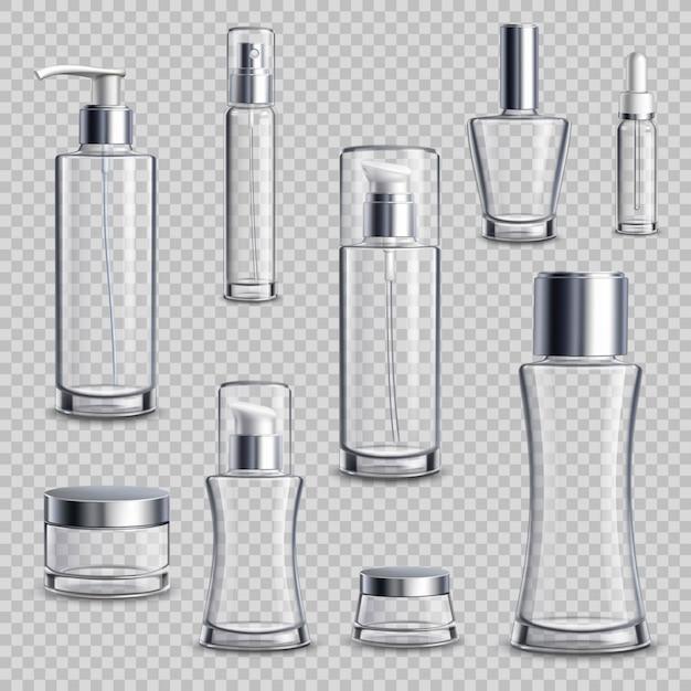 Conjunto transparente de cosméticos conjunto transparente realista Vetor grátis