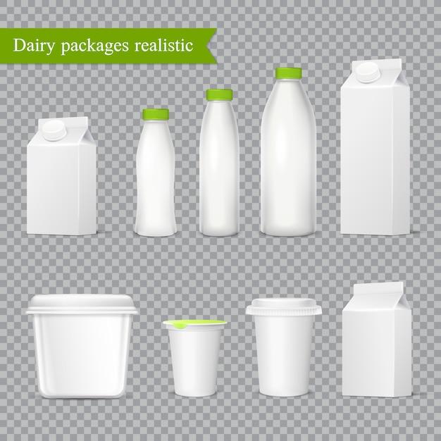 Conjunto transparente de embalagens de laticínios realista Vetor grátis