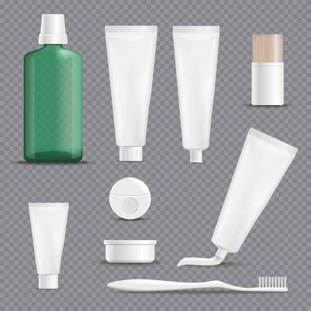 Conjunto transparente de fundo transparente de dentifrícios Vetor grátis