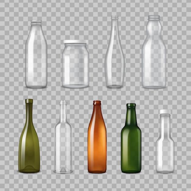 Conjunto transparente de garrafas de vidro realista Vetor grátis