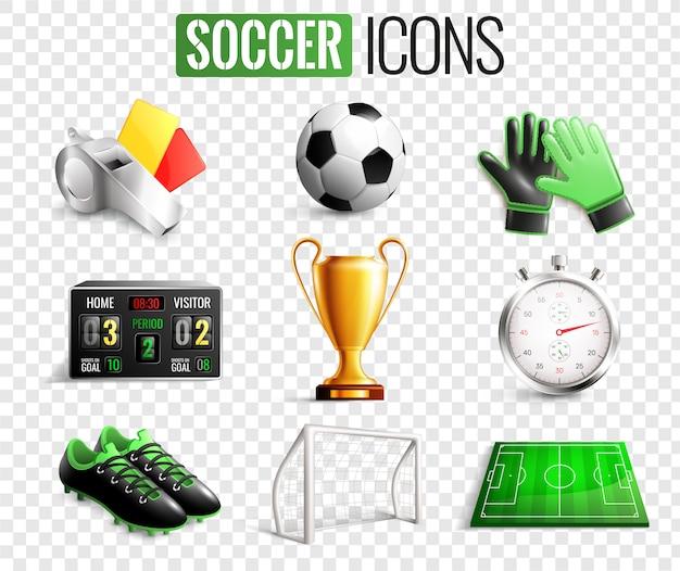 Conjunto transparente de ícones de futebol Vetor grátis