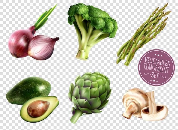 Conjunto transparente de legumes Vetor grátis