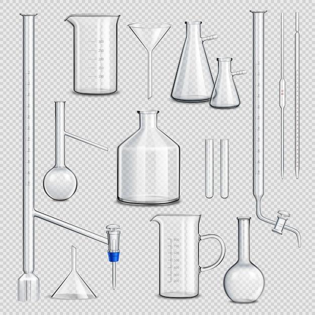 Conjunto transparente de vidraria de laboratório Vetor grátis