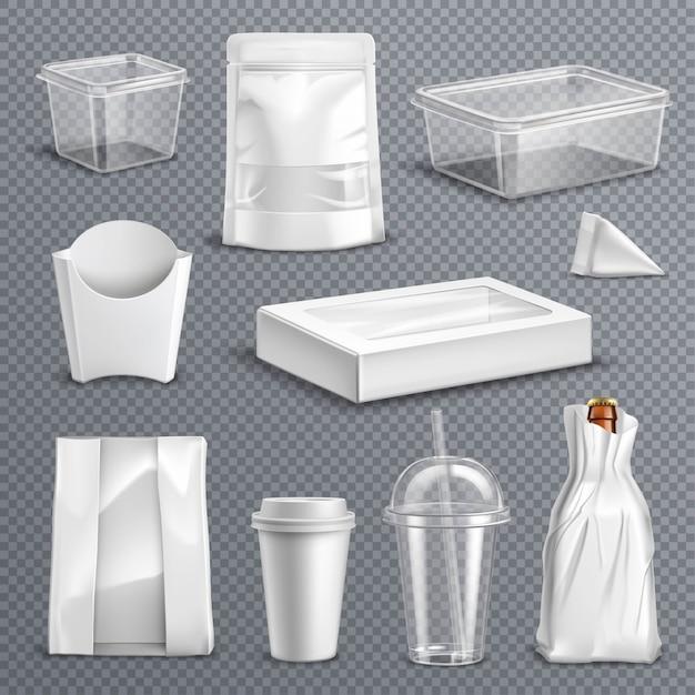 Conjunto transparente realista de embalagens de alimentos Vetor grátis