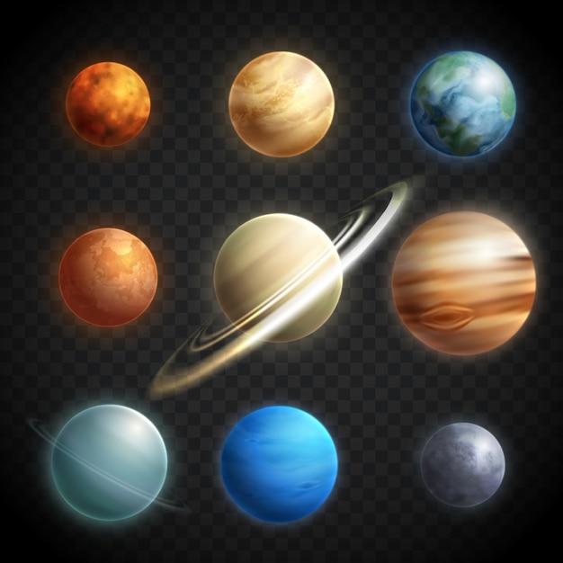 Conjunto transparente realista de planetas Vetor grátis
