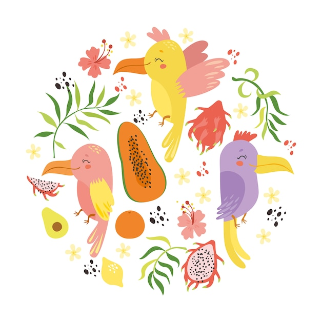 Conjunto tropical com papagaios e frutas Vetor grátis