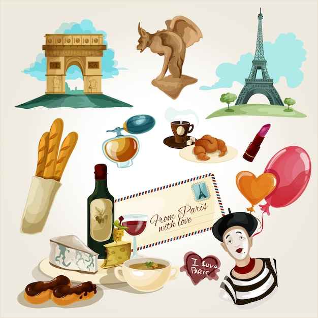 Conjunto turístico de paris Vetor grátis