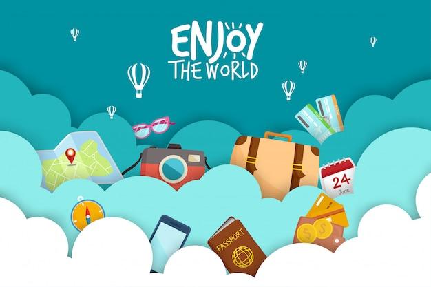 Conjunto turístico viaje ao redor do mundo. Vetor Premium