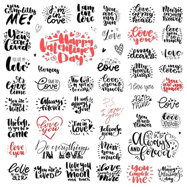 Conjunto único grande de amor mão lettering para dia dos namorados Vetor Premium