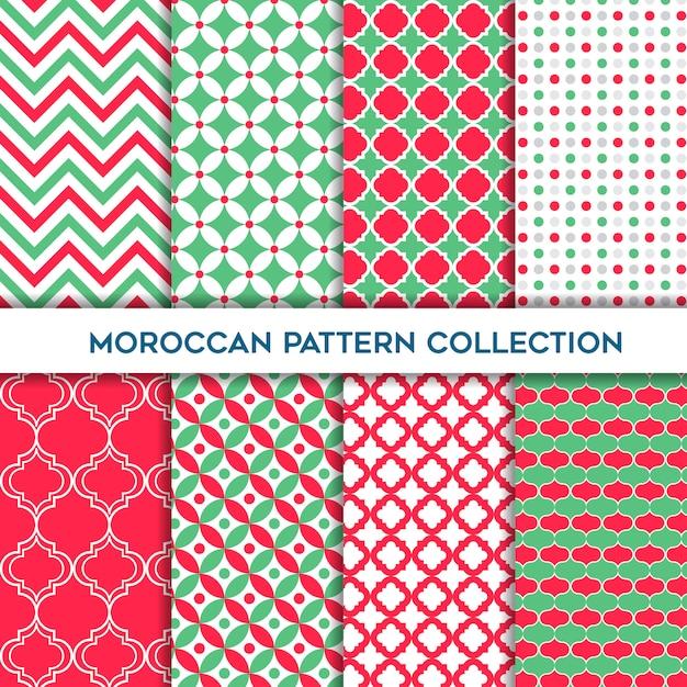 Conjunto verde e amaranto de padrões sem emenda geométricos marroquinos Vetor Premium