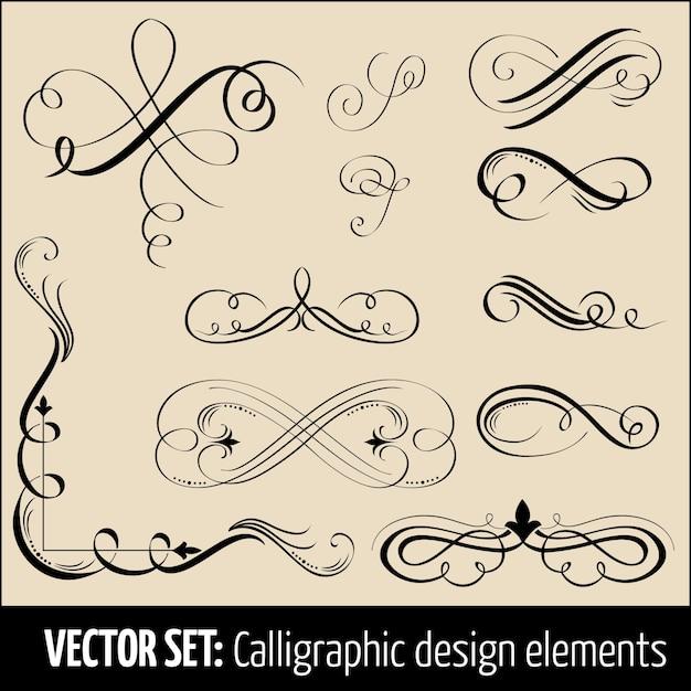 Conjunto vetorial de elementos de design de decoração de caligrafia e página. elementos elegantes para o seu design. Vetor grátis
