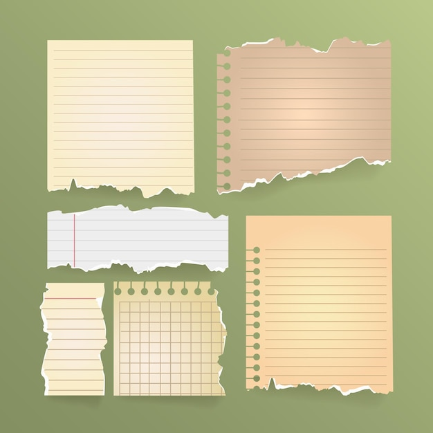 Conjunto vintage de papel rasgado Vetor grátis