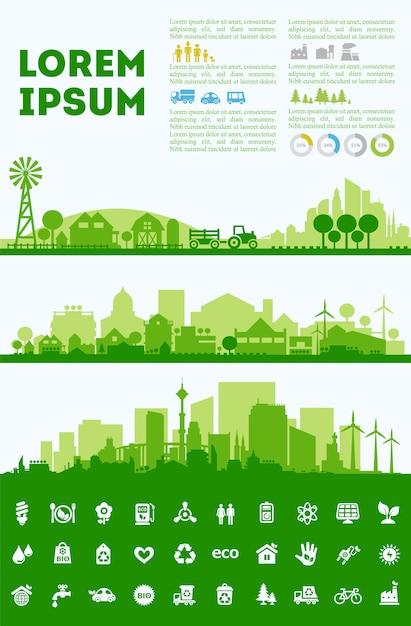 Conjuntos coloridos de skyline da cidade, distritos de cidade banners Vetor Premium