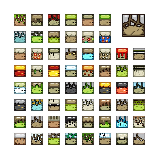 Conjuntos de azulejos para jogos de vídeo Vetor Premium