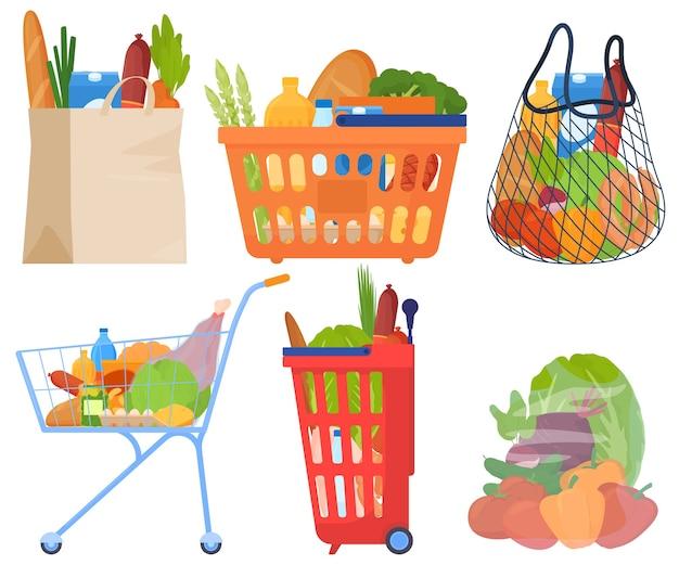 Conjuntos de compras, em cestos, pacotes, carrinhos, legumes, carne, salsichas, pão, leite, óleo. Vetor Premium
