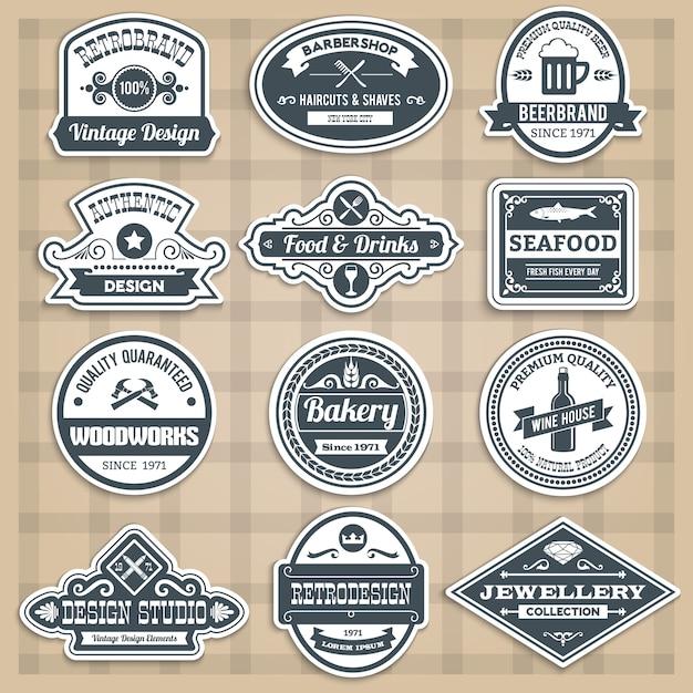 Conjuntos de emblemas retros Vetor grátis