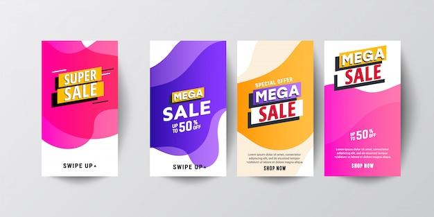 Conjuntos de histórias gráficas modernas abstratas criativas. modelo definido com banners gradientes modernos líquidos Vetor Premium
