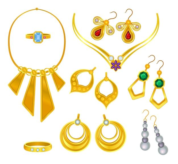 Conjuntos de joias de ouro isoladas em branco Vetor Premium