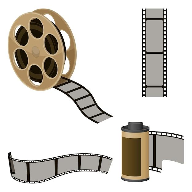 Conjuntos de rolos de filme de elementos para produção de filmes. ícones da indústria cinematográfica para produzir filmes. Vetor Premium