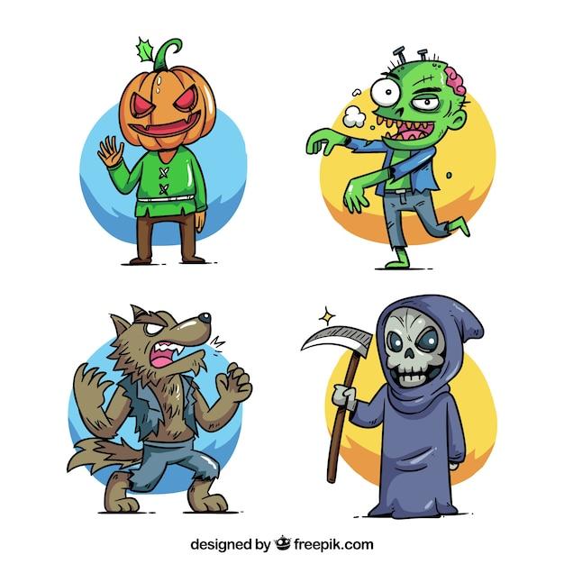 Conjuntos de trajes desenhados a mão no halloween Vetor grátis