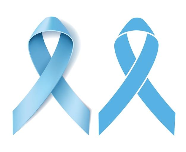 Conscientização da fita do câncer de próstata. símbolo de doença. fita azul clara realista e fita azul luz silhueta em fundo branco. ilustração Vetor Premium