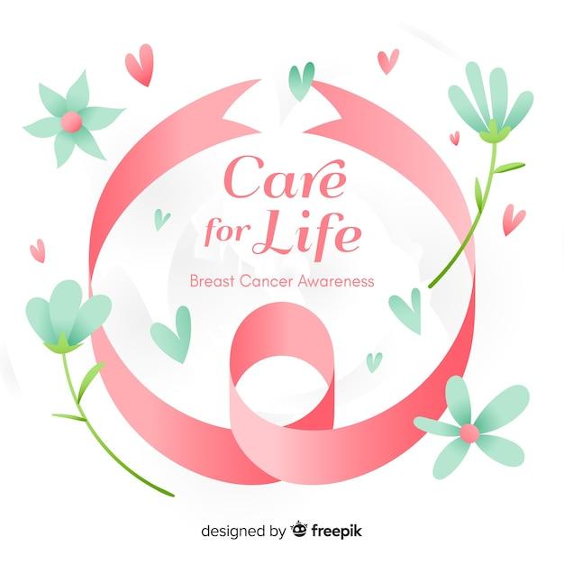 Conscientização do câncer de mama com fita mão desenhada Vetor grátis