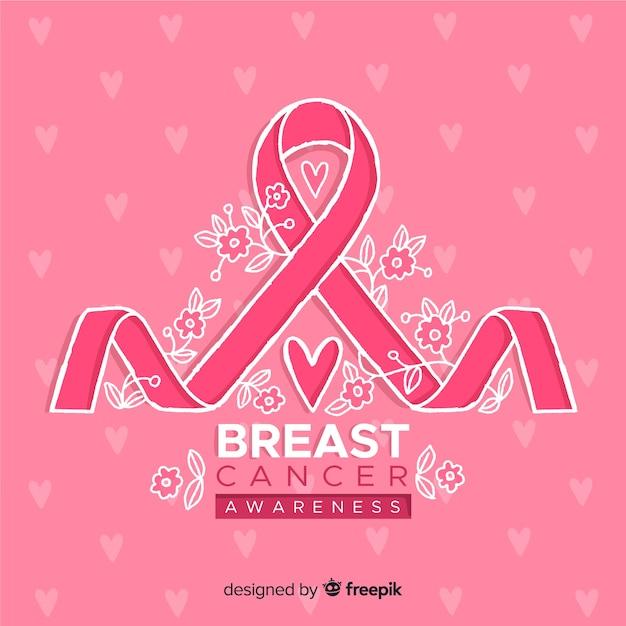 Conscientização do câncer de mama com fita Vetor grátis