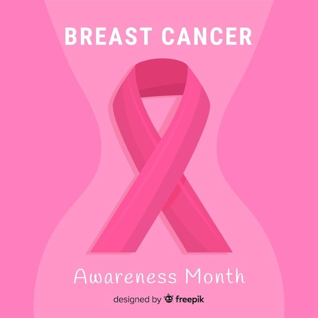 Conscientização do câncer de mama design plano com fita Vetor grátis