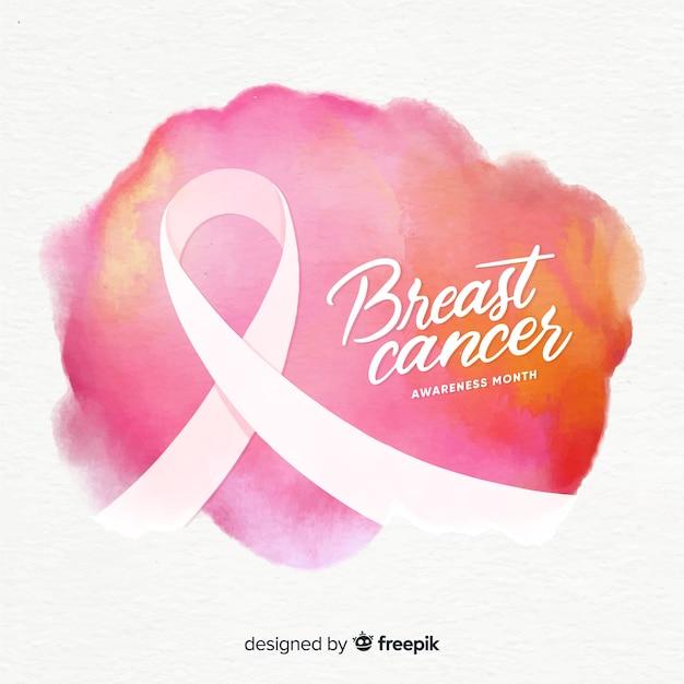 Conscientização do câncer de mama em aquarela com fita Vetor grátis